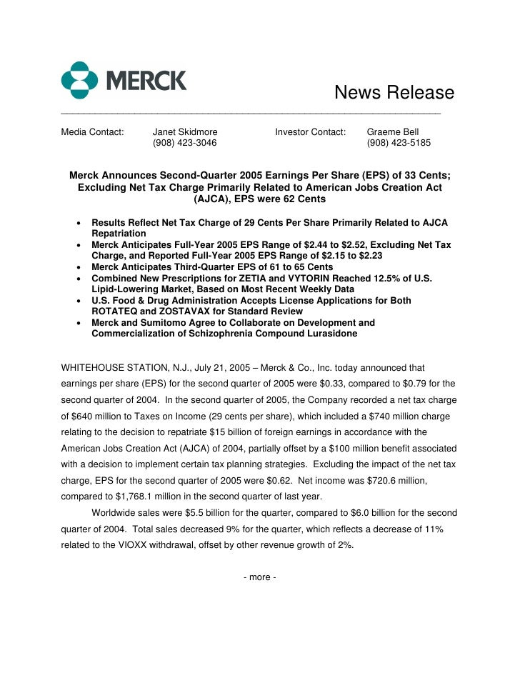merck 2Q05 Earnings Release