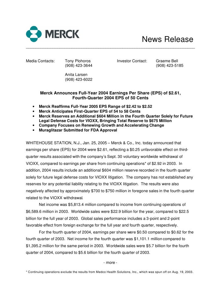 merck 	4Q04 Earnings Release