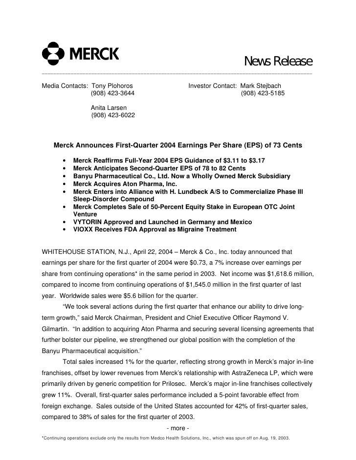 merck 1Q04 Earnings Release (