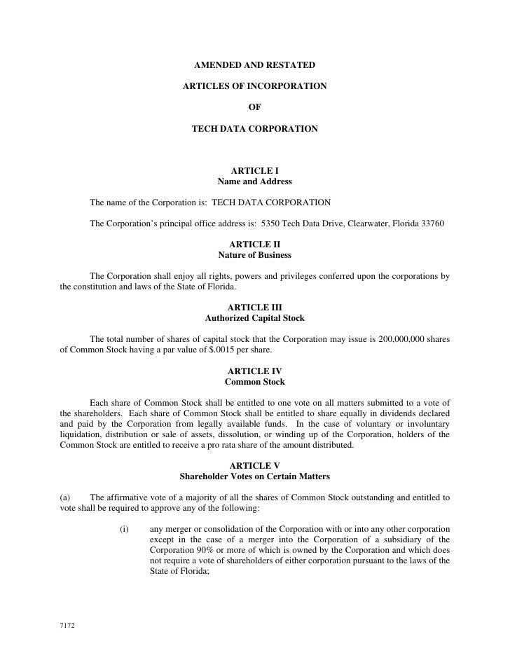 AMENDED AND RESTATED                                   ARTICLES OF INCORPORATION                                          ...