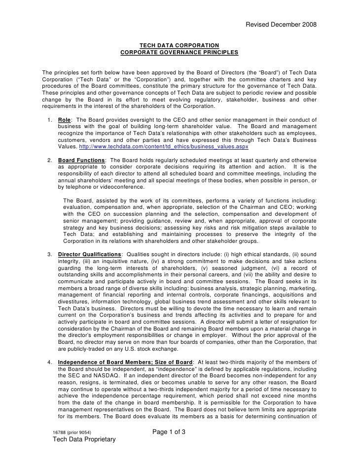 Revised December 2008                                     TECH DATA CORPORATION                               CORPORATE GO...