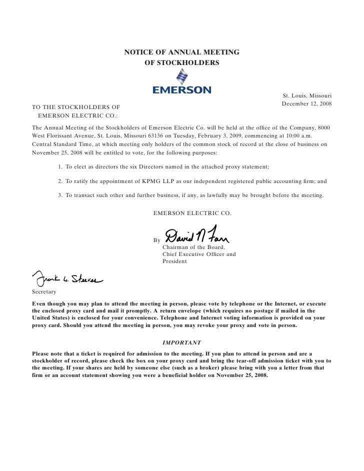 emerson electricl Proxy Statement for 2009 Annual Shareholders Meeting