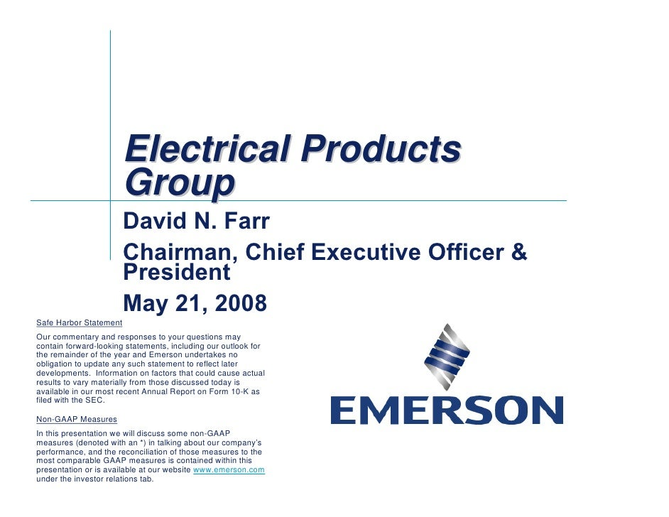 emerson electricl Electrical Products Group Conference