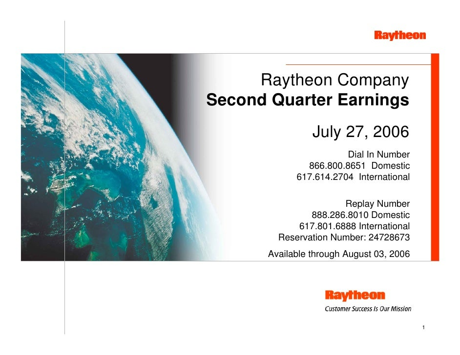 Raytheon Reports 2006 Second Quarter Results