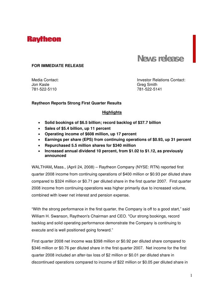 raytheon Q4 Earnings Presentation