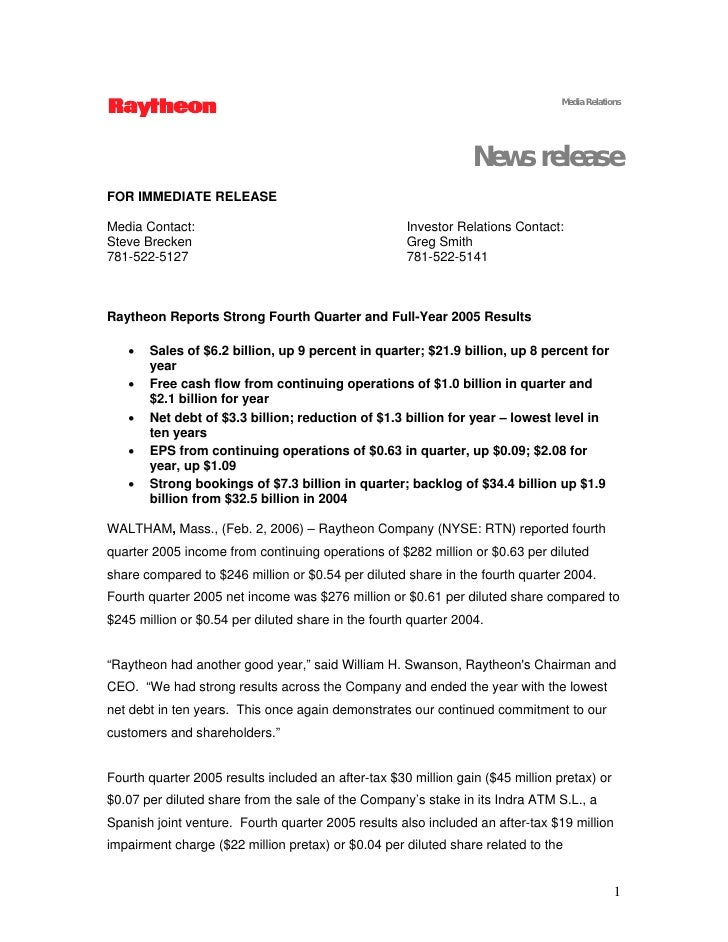 Media Relations                                                                      News release FOR IMMEDIATE RELEASE  M...