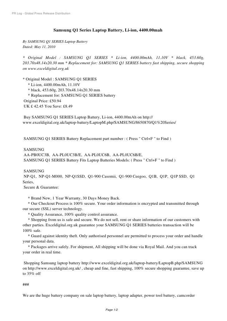 PR Log - Global Press Release Distribution                                  Samsung Q1 Series Laptop Battery, Li-ion, 4400...