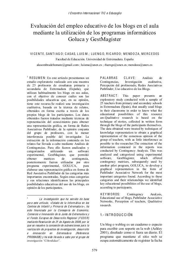 Evaluación del empleo educativo de los blogs en el aula mediante la utilización de los programas informáticos Goluca y GestMagister.