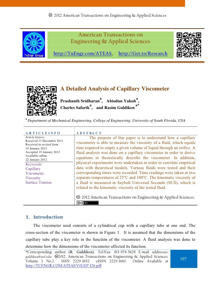 A Detailed Analysis of Capillary Viscometer