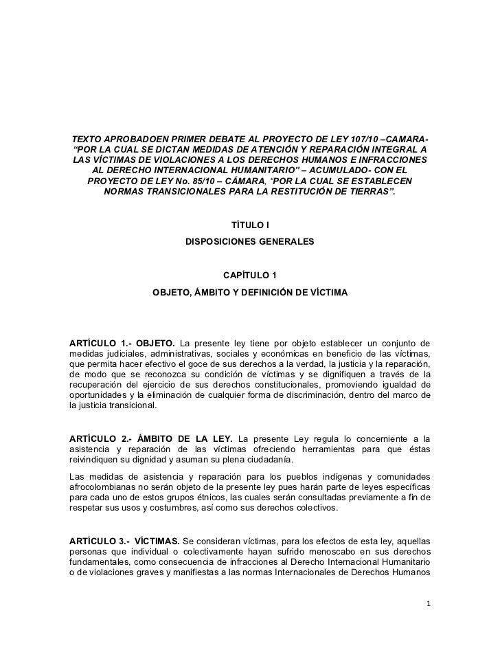"""TEXTO APROBADOEN PRIMER DEBATE AL PROYECTO DE LEY 107/10 –CAMARA-""""POR LA CUAL SE DICTAN MEDIDAS DE ATENCIÓN Y REPARACIÓN I..."""
