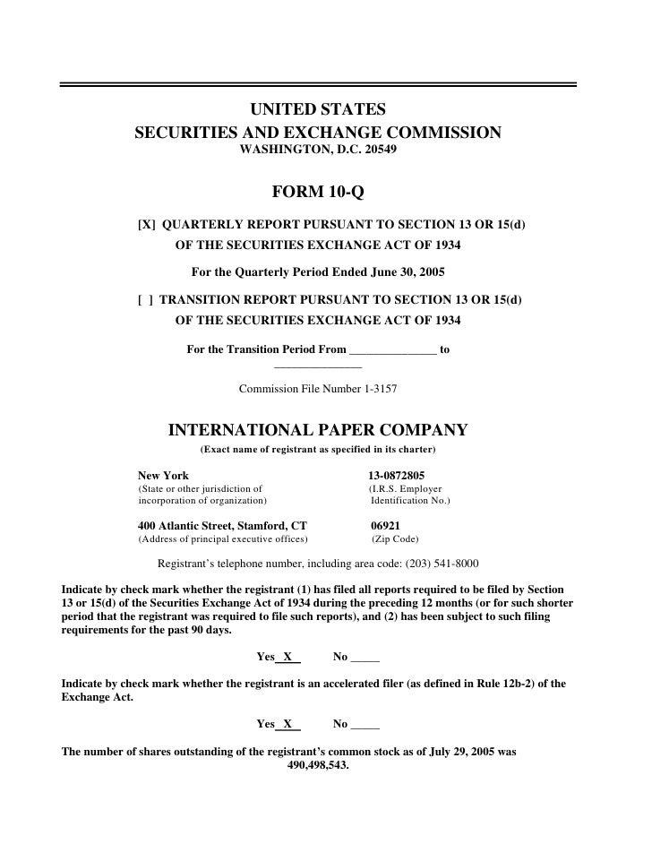international paper Q2 2005 10-Q
