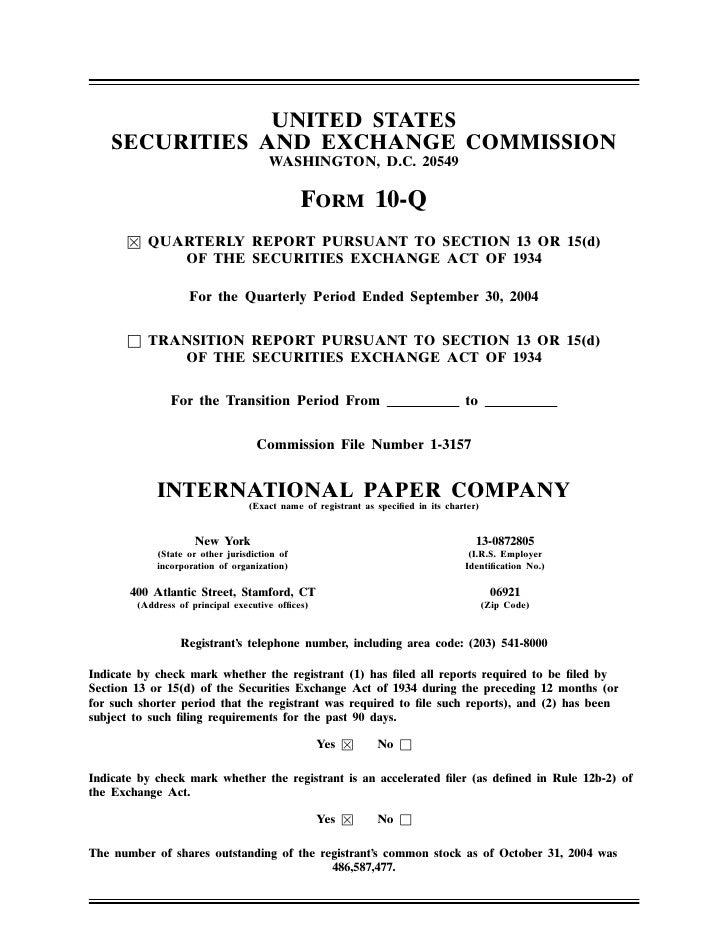 international paper Q3 2004 10-Q