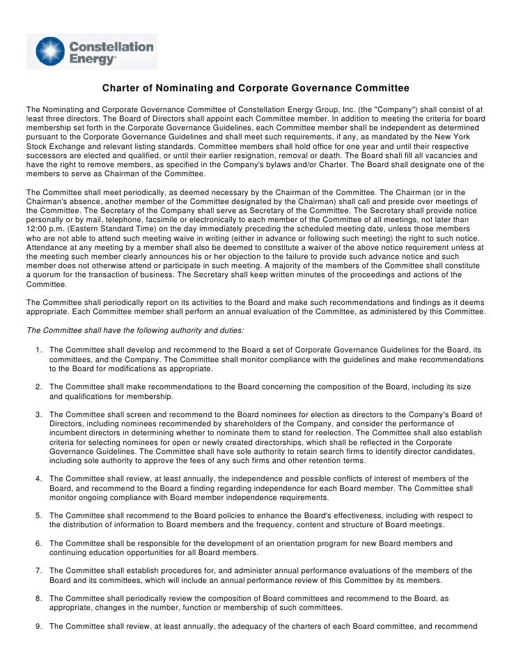 Charter of Nominating and Corporate Governance Committee The Nominating and Corporate Governance Committee of Constellatio...