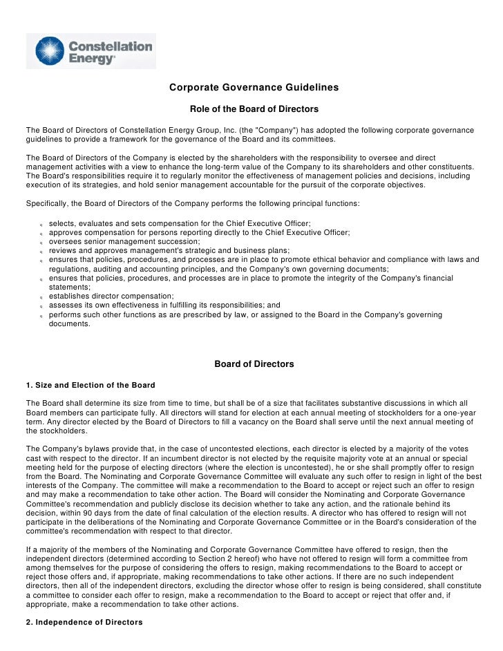 Corporate Governance Guidelines                                                 Role of the Board of Directors  The Board ...