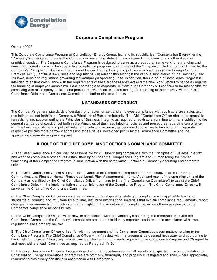 Corporate Compliance Program October 2003  This Corporate Compliance Program of Constellation Energy Group, Inc. and its s...
