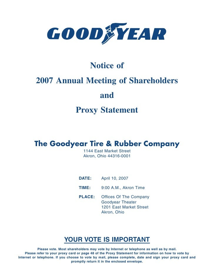 Notice of           2007 Annual Meeting of Shareholders                                                and                ...