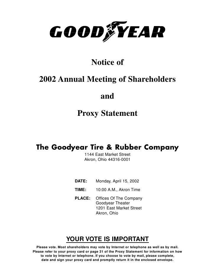 Notice of     2002 Annual Meeting of Shareholders                                          and                            ...