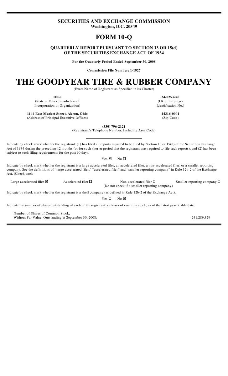 goodyear  3Q'08 10-Q 10Q Reports