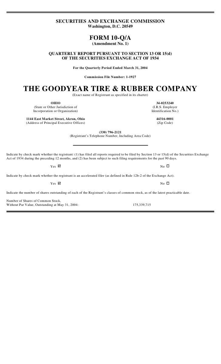 goodyear 10Q Reports1Q'04 10-Q/A