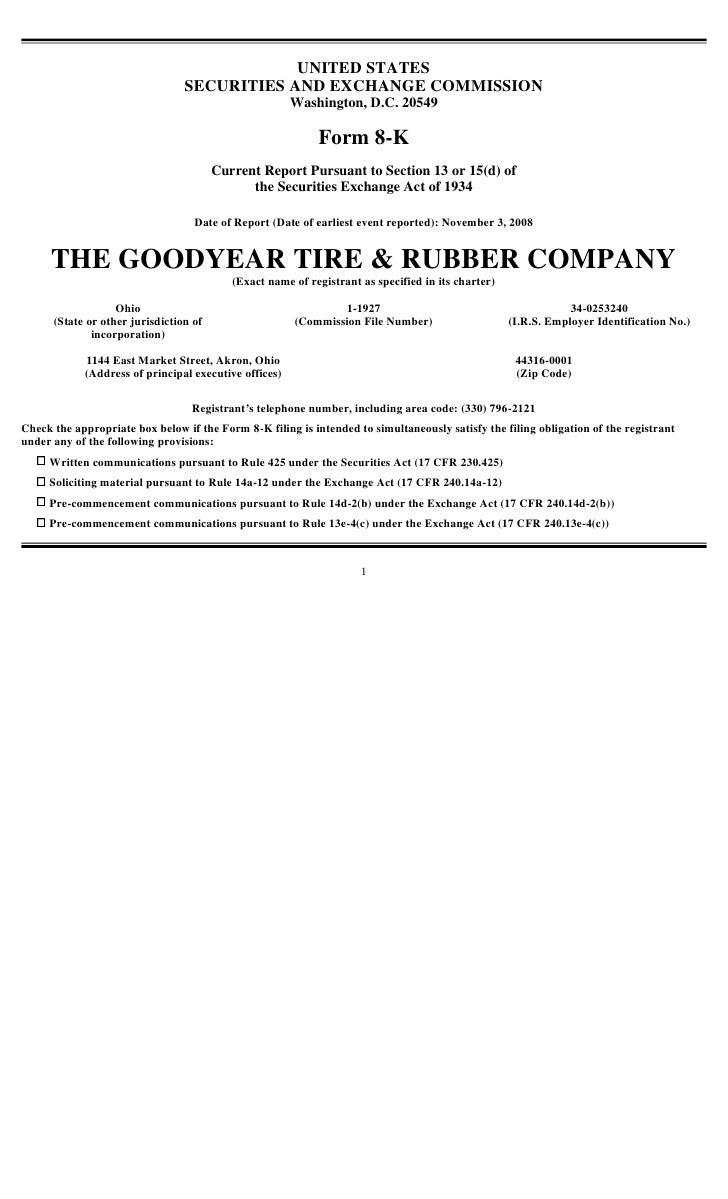 goodyear 8K Reports 11/03/08