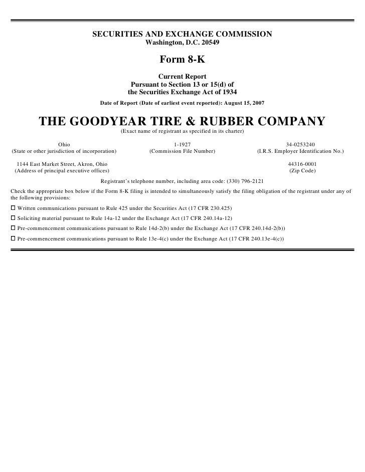 goodyear 8K Reports 08/15/07
