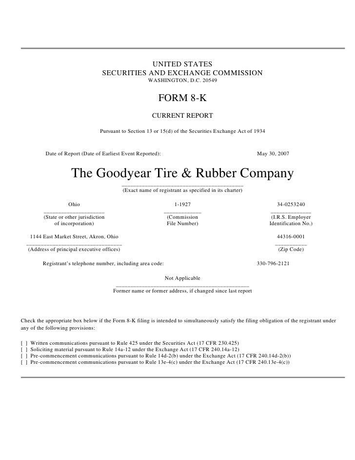 goodyear 8K Reports 05/30/07