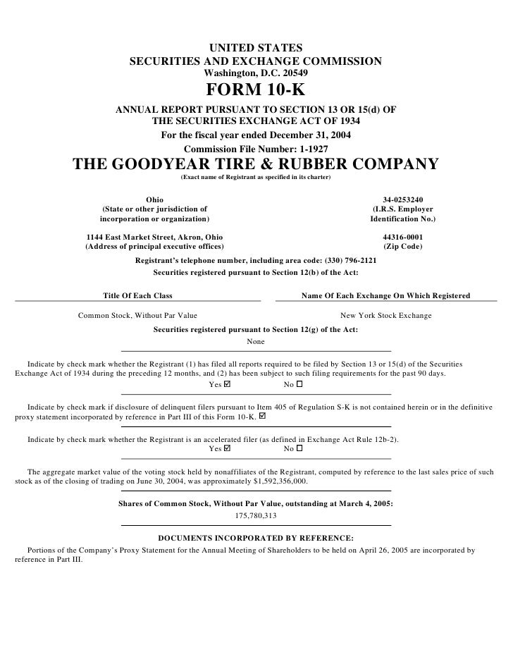 goodyear 10K Reports 2004