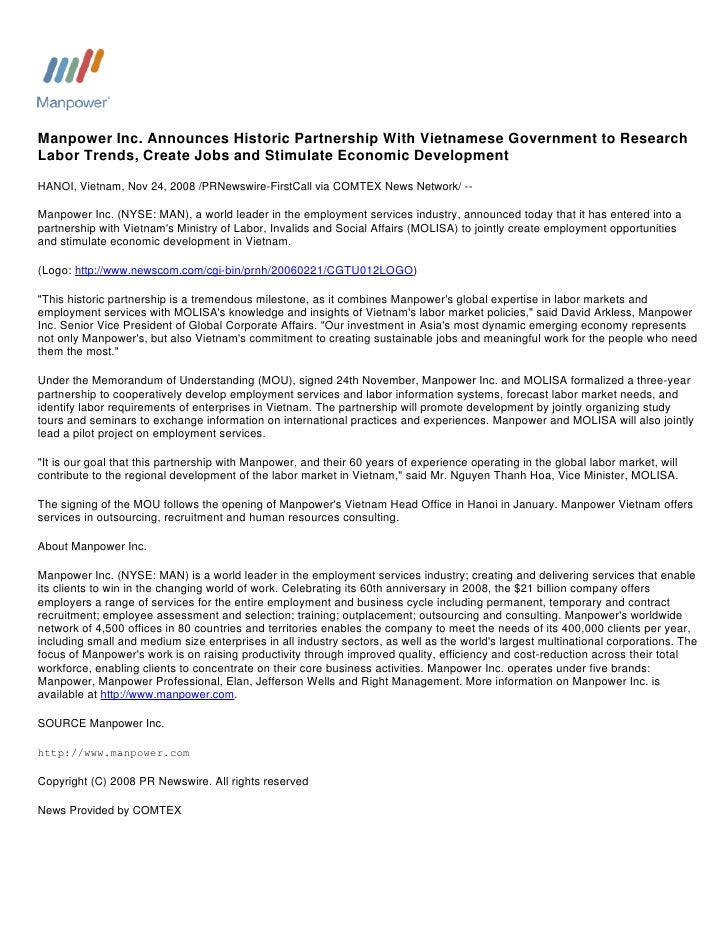 Manpower Inc. Announces Historic Partnership With Vietnamese Government to Research Labor Trends, Create Jobs and Stimulat...