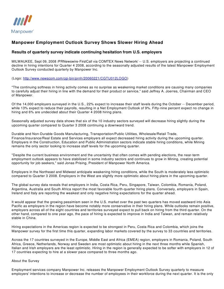 Manpower Employment Outlook Survey Shows Slower Hiring Ahead  Results of quarterly survey indicate continuing hesitation f...