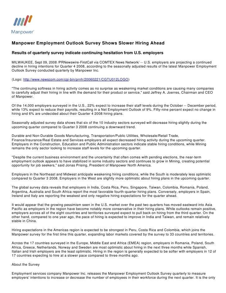 Manpower Employment Outlook Survey Shows Slower Hiring Ahead 09/09/2008