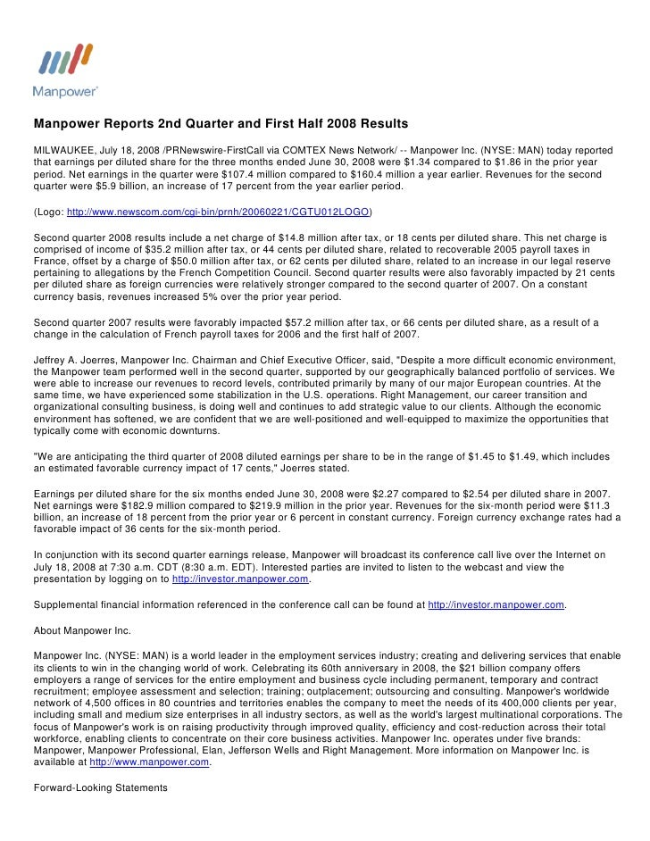Manpower Reports 2nd Quarter and First Half 2008 Results MILWAUKEE, July 18, 2008 /PRNewswire-FirstCall via COMTEX News Ne...