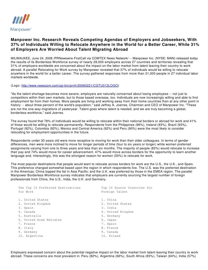 Manpower Inc. Research Reveals Competing Agendas of Employers and Jobseekers, With 37% of Individuals Willing to Relocate ...