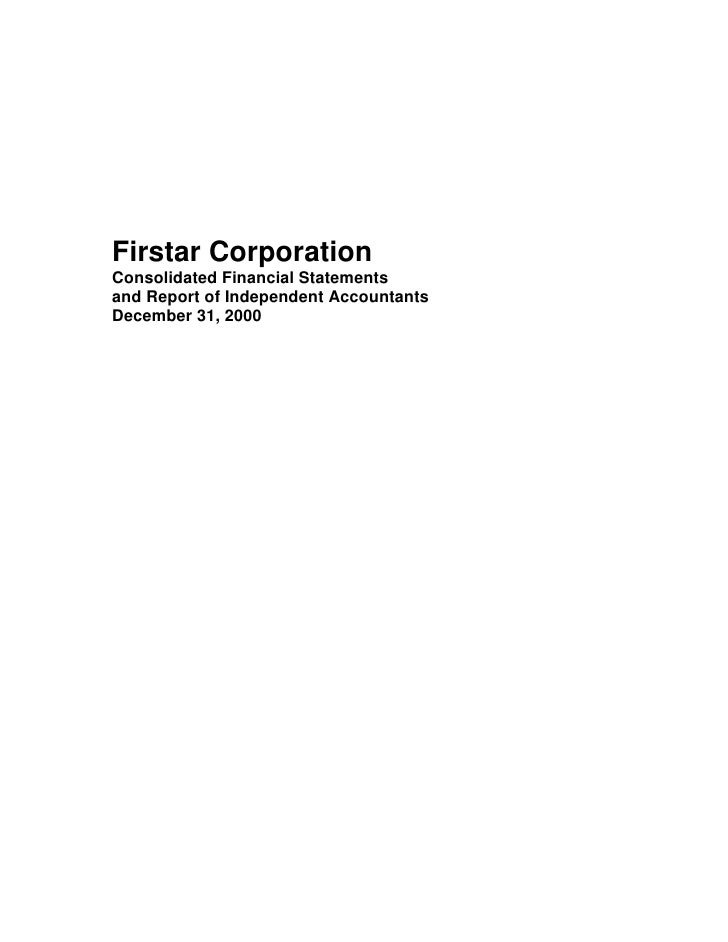 u.s.bancorp 2000 Audited Financial Statements - Firstar Corporation