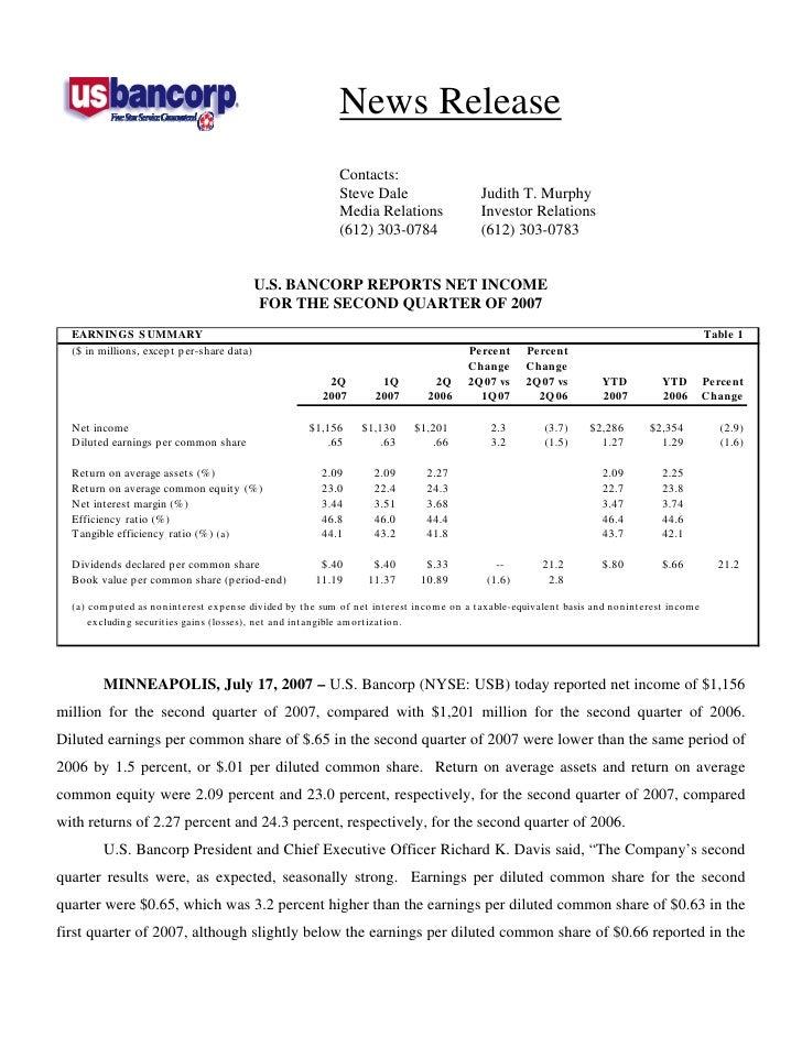 u.s.bancorp2Q 2007 Earnings Release