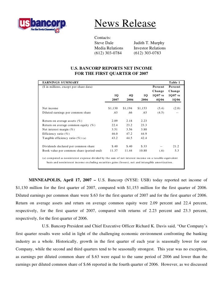 u.s.bancorp 1Q 2007 Earnings Release