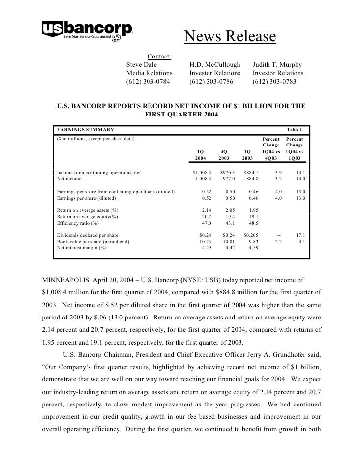 u.s.bancorp1Q 2004 Earnings Release