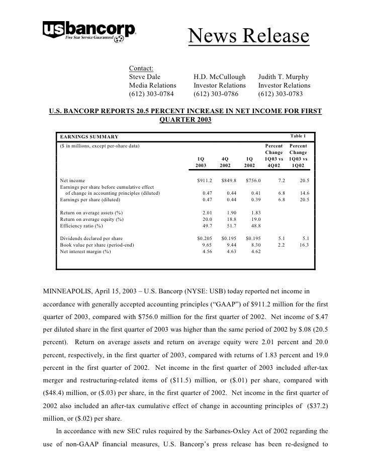 u.s.bancorp1Q 2003 Earnings Release and Supplemental Analyst Schedules