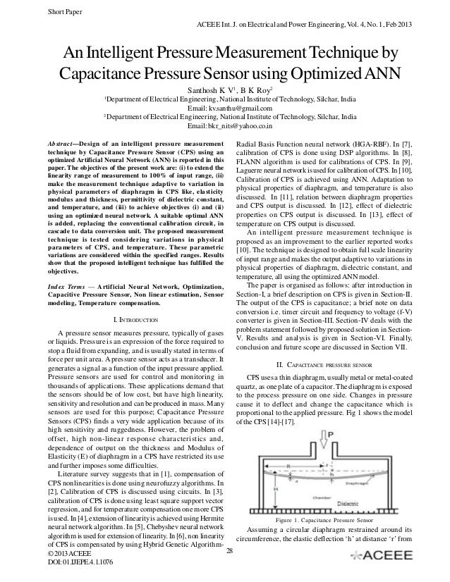 Short Paper                                                        ACEEE Int. J. on Electrical and Power Engineering, Vol....