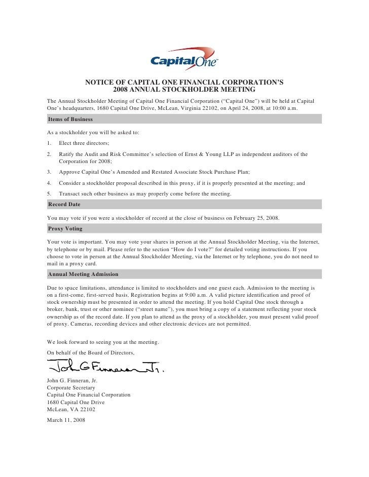 NOTICE OF CAPITAL ONE FINANCIAL CORPORATION'S                       2008 ANNUAL STOCKHOLDER MEETING The Annual Stockholder...