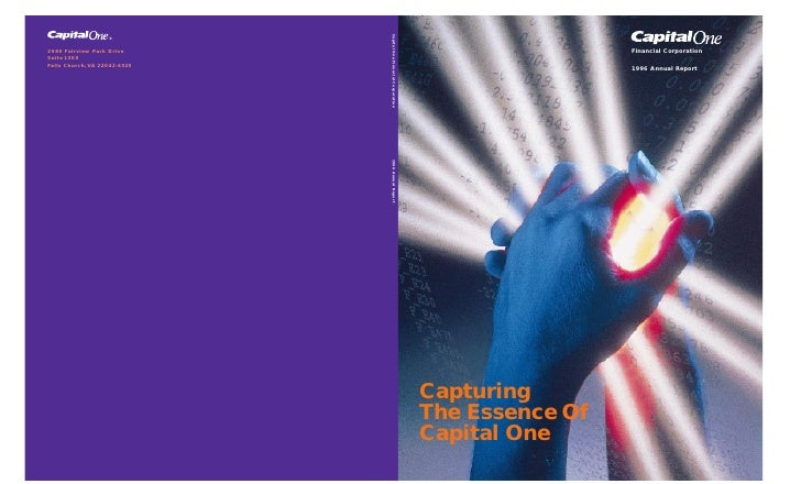 Financial Corporation                   1996 Annual Report     Capturing The Essence Of Capital One