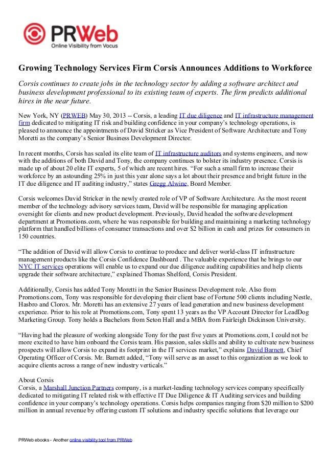 Marshall Junction Parters | Press Release | Marshall Junction Partners Company Corsis Announces Additions to Workforce