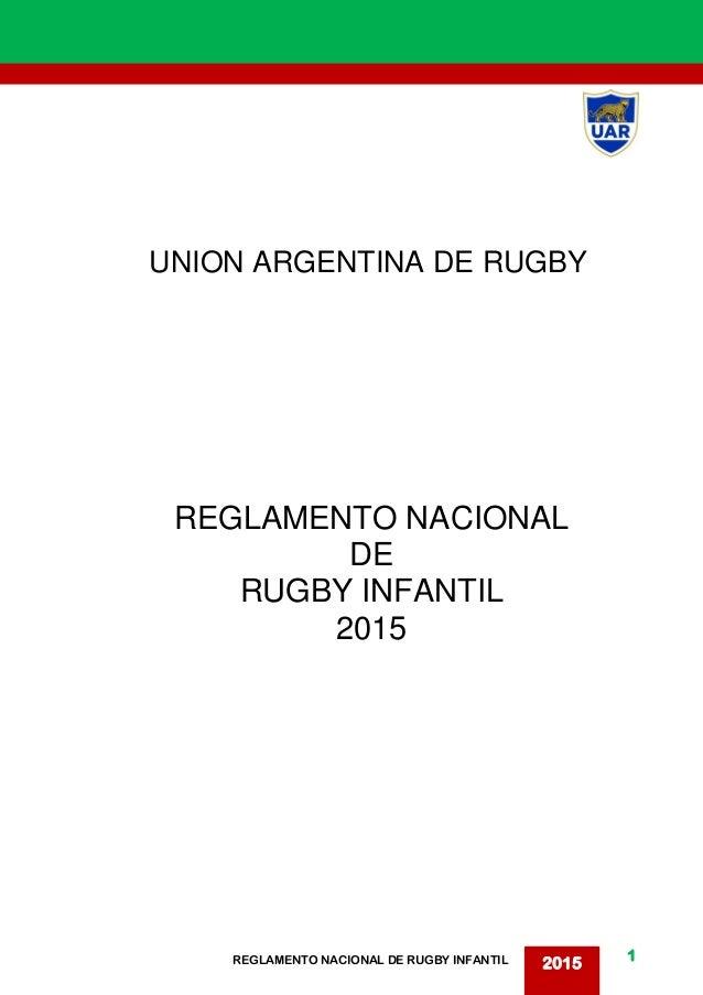1 2015REGLAMENTO NACIONAL DE RUGBY INFANTIL UNION ARGENTINA DE RUGBY REGLAMENTO NACIONAL DE RUGBY INFANTIL 2015