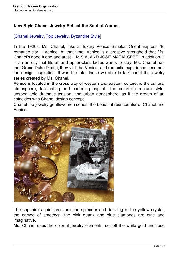 Fashion Heaven Organizationhttp://www.fashion-heaven.orgNew Style Chanel Jewelry Reflect the Soul of Women[Chanel Jewelry,...