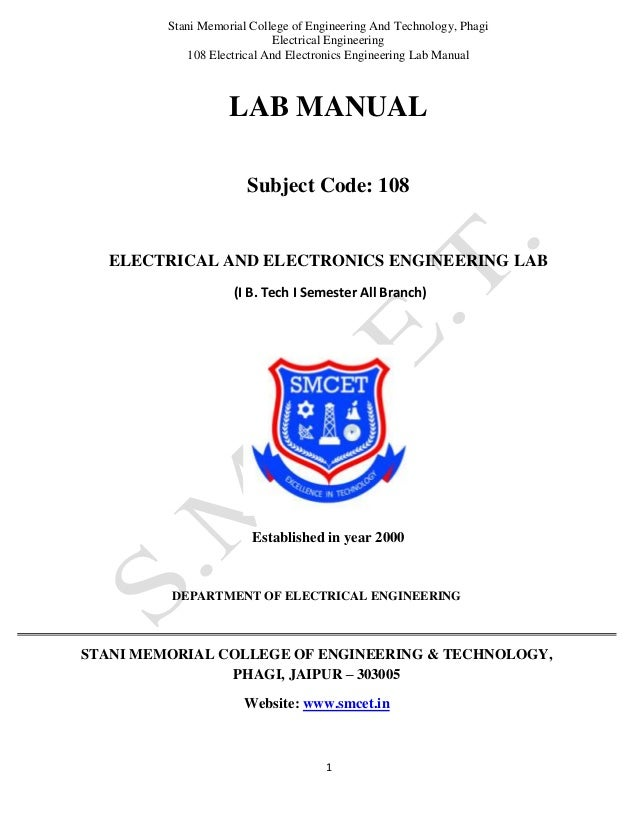 Stani Memorial College of Engineering And Technology, Phagi Electrical Engineering 108 Electrical And Electronics Engineer...