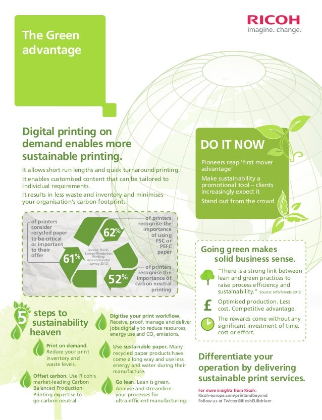 The Green advantage  Digital printing on demand enables more sustainable printing.  DO IT NOW  It allows short run lengths...