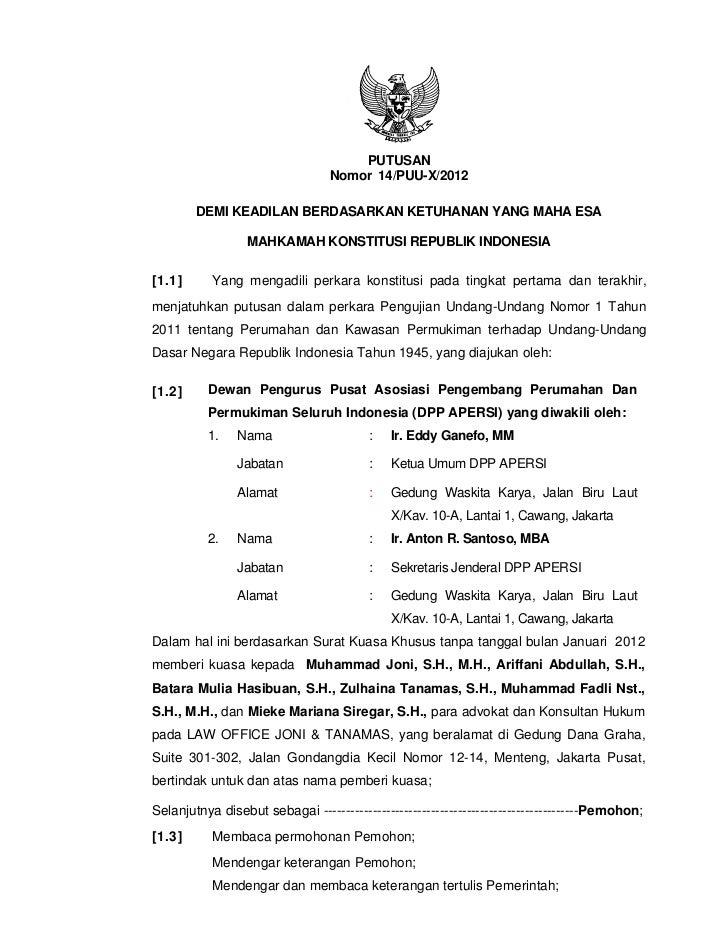 Keputusan Mahkamah Konstitusi Nomor 14/PUU-X/2012