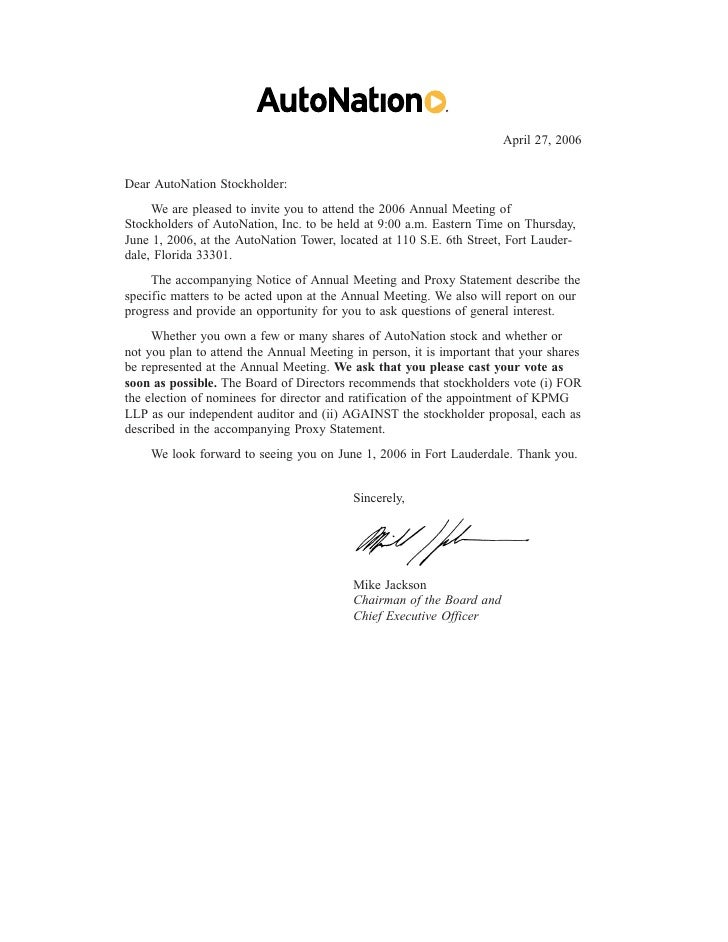 April 27, 2006   Dear AutoNation Stockholder:      We are pleased to invite you to attend the 2006 Annual Meeting of Stock...