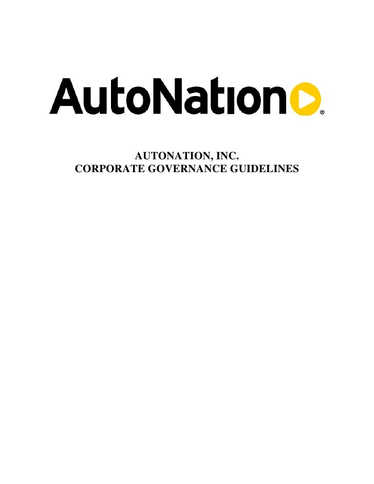 AUTONATION, INC. CORPORATE GOVERNANCE GUIDELINES