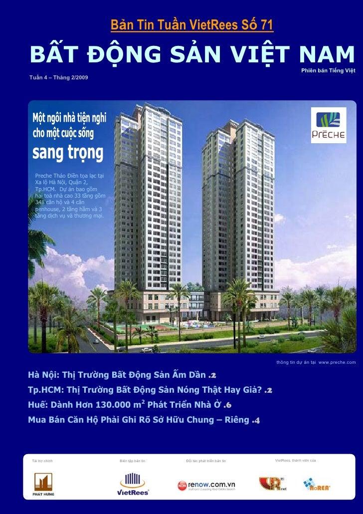 Bản Tin BĐS Việt Nam Số 71 Tuần 4 Tháng 2 Năm 2009