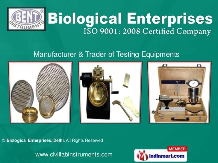 Transportation Engineering Lab Equipment by Biological Enterprises Delhi Delhi